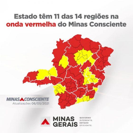 Estado tem 11 das 14 regiões na onda vermelha do Minas Consciente