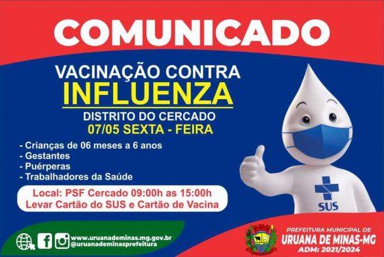 """Secretaria Municipal de Saúde informa, que nesta Sexta – Feira 07/05,no Distrito do Cercado será dia """"D"""" de vacinação contra Influenza."""