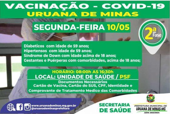 Segunda Fase da vacinação contra Covid-19, em Uruana de Minas.